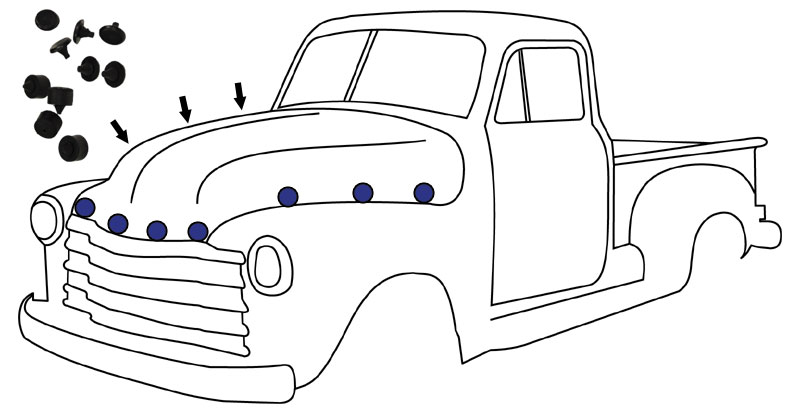 1947 55 Chevy Gmc Truck Rubber Hood Bumper 10 Pc Kit on gmc truck parts diagram