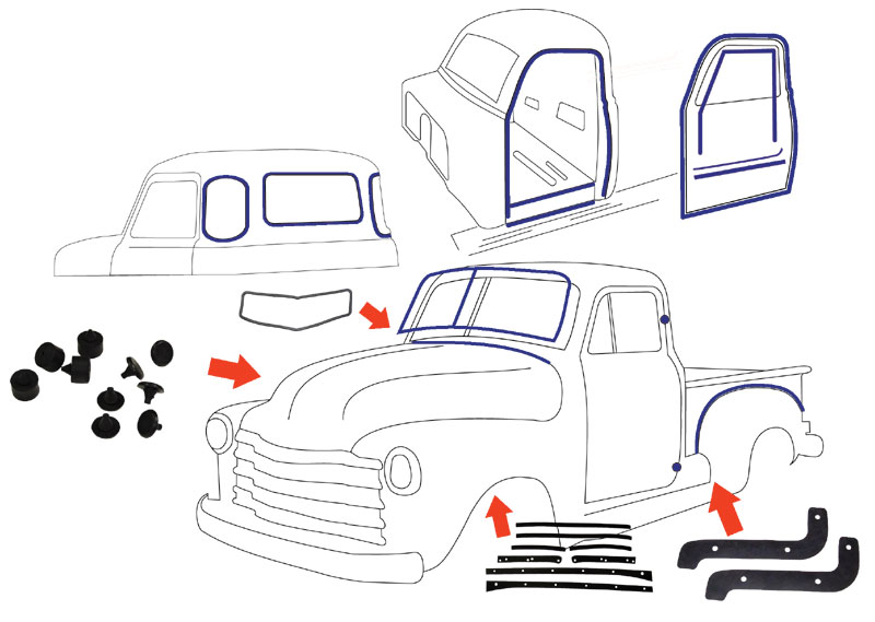 1949 Chevy Gmc Truck Complete Weatherstripping Kit Usa1