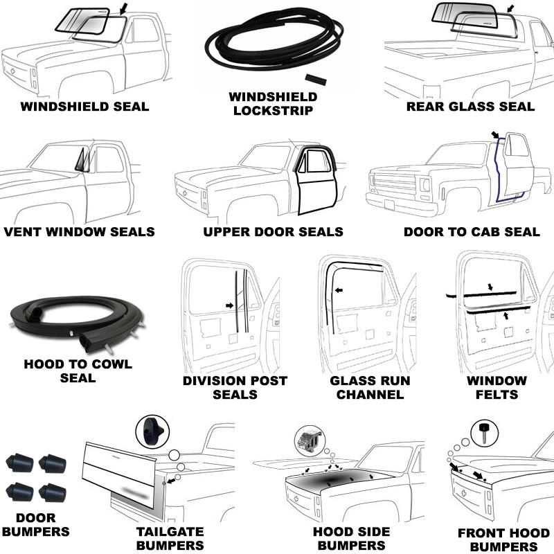1973-1987 GMC TRUCK NEW Precision Windshield Weatherstrip Seal w// Lockstrip