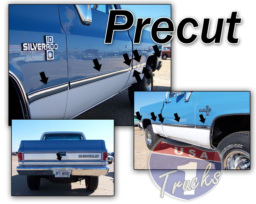 1981 87 Fullsize Chevy Gmc Truck Fleetside Body Side Molding Set Shortbed Chevy Truck Parts