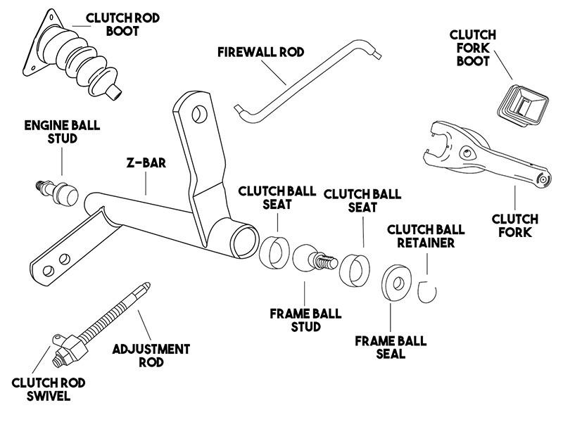 1967 72 Chevy Gmc V8 Upper Firewall Clutch Zbar Upper Push Rod