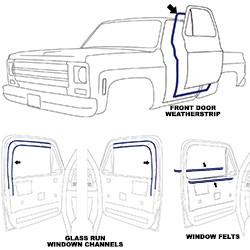 1981-87 Fullsize Chevy & GMC Truck Door Weatherstripping Kit