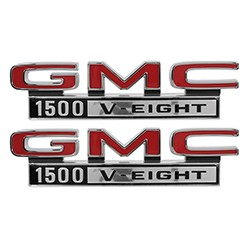1968-72 GMC Truck Fender Side Emblems, 1500 V-8