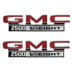 1968-72 GMC Truck Fender Side Emblems, 2500 V-8