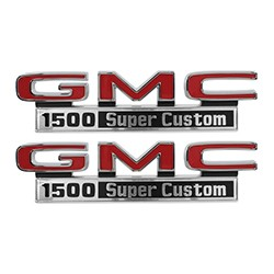1971-72 GMC Truck Fender Side Emblems, 1500 Super Custom