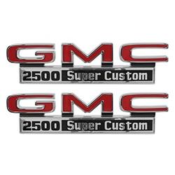 1971-72 GMC Truck Fender Side Emblems, 2500 Super Custom