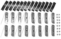 1969-72 Chevy & GMC Truck Longbed Lower Body Side Molding Complete Clip Set, Metal
