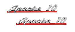 1961 CHEVY Truck Apache 10 Hood Side Emblem, Pair
