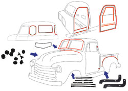 1947-48 Chevy & GMC Truck Complete Weatherstripping Kit