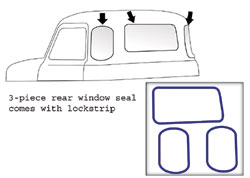 1947-53 Chevy & GMC Truck 3 piece Rear Window Seal with Chrome Lockstrip