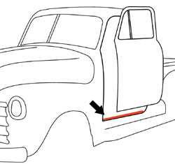 1950-55 Chevy & GMC Truck Lower Windlace Door Seal on Cab, Black