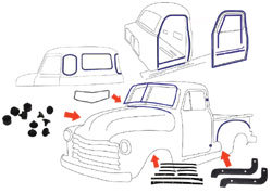 1950 Chevy & GMC Truck Complete Weatherstripping Kit