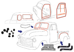 1952-53 Chevy & GMC Truck Complete Weatherstripping Kit
