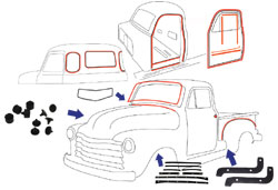 1954-55 Chevy & GMC Truck Complete Weatherstripping Kit