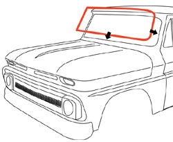 1964-66 Chevy & GMC Truck Windshield Seal with Trim Channel