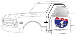1967-72 Chevy & GMC Truck Door Weatherstrip Seals on Cab