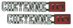 1971-72 Chevy Truck CHEYENNE 10 Fender Emblems with Fasteners