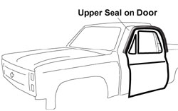 1973-77 Fullsize Chevy & GMC Truck Upper Weatherstrip Seal on Door