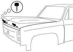 1982-87 Fullsize Chevy & GMC Truck Front Hood Bumpers, Pair