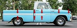 1962-66 CHEVY Truck Fleetside Shortbed Body Side Molding Kit