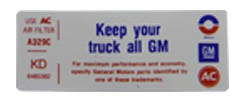 """1972 Chevy & GMC Truck Air Cleaner """"All GM"""" Decal"""
