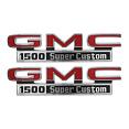 1971-72 GMC Truck Fender Side Emblems, 1500 Super Custom