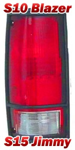 1983-94 Chevy S10 Blazer & GMC S15 Jimmy Tail Light Assembly w/ Black Trim, Left
