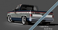 1981-87 Chevy & GMC Truck 2-Tone Paint Break Stripe Kit, Light Blue/Dark Blue