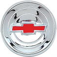 1960-66 Chevy Truck Steering Wheel Horn Cap, Chrome w/red Bowtie