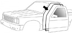 1982-93 Chevy S10 & GMC Sonoma Pickup Door Weatherstrip on Cab (pr)