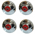 1964-66 CHEVY Truck Chrome Hubcap Set, Orange Bowtie