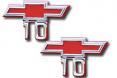 """1967-68 Chevy Truck """"Bowtie 10"""" Fender Emblems, Pair"""