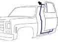 1973-87 Fullsize Chevy & GMC Truck Door Weatherstrip on Cab, Pair