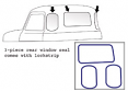 1947-53 Chevy & GMC Truck 3 piece Rear Window Seal with Chrome Lockstrip